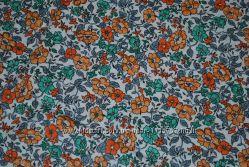 Ткань 5 м  большой отрез в мелкий оранжевый цветок  новая