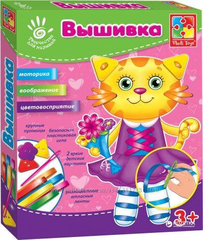 Набор для творчества Вышивка лентами и пуговицами Кошка Vladi Toys 242710