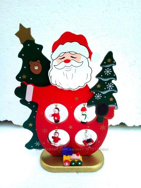 Новогодний деревянный декор Дед мороз и снеговик наличие
