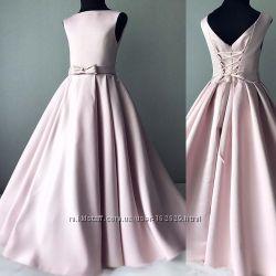 Платье цвета пудры в пол на 122 см