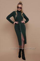 Теплое ангоровое платье-гольф, бордо, изумруд, черный S, M, L