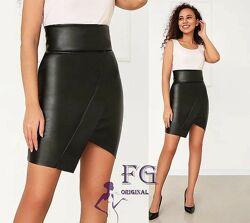 Женская ассиметричная кожаная юбка без флиса , 42,44,46,48р, Terry