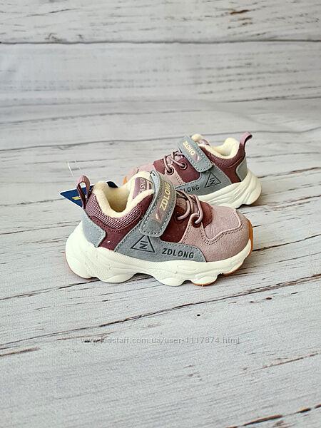 22-26р Кожаные замшевые кроссовки на плюше для девочек Zdlong 9908