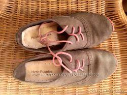 Туфли Hush Puppies, бу, 32, 5 р-р, на девочку, на шнурках, натуральная замш.