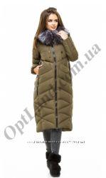 Теплый стильный длинный женский пуховик