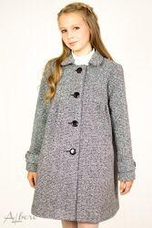 Стильне демісезонне сіре, синє пальто на дівчаток ALBERO