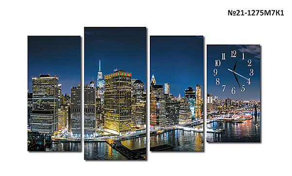 Модульная картина часы, город Нью-Йорк, Манхэттен