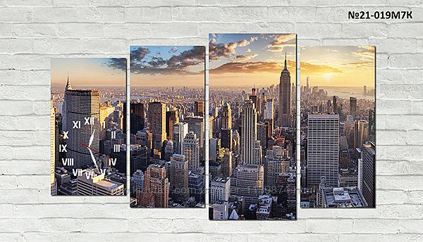 Модульная картина Нью-Йорк, с часами, без часов
