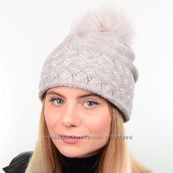 зимняя шапка с натуральным меховым помпоном, цвета разные
