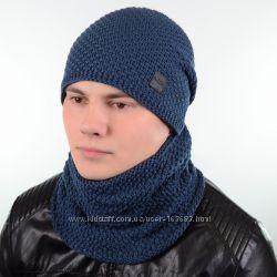 Однотонный мужской набор - состоит из хомута и стильной шапки, цвета разные