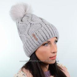 Зимняя женская шапка с флисом и помпоном, цвета разные