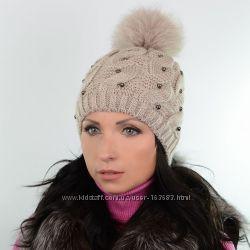 Зимняя шапка с меховым помпоном, цвета разные