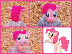 Тёплая шапка на флисе любителям My Little Pony 52р Rarity Pinkie Pie