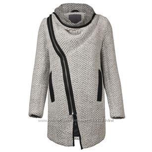 Minimum шерстяное серое пальто с косой молнией бойфренд оверсайз