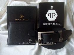 Стильный подарок. Кожаный кошелек и ремень PHILIPP PLEIN