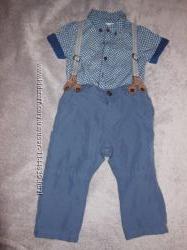 Комплект  брюки на  подтяжках мальчику  6-9  мес zara next