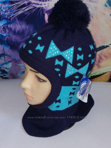 Зимняя шапка-шлем на девочку 48-52, grans, польша