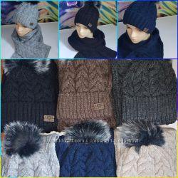 Классные теплые наборы шапка и шарф, р-р универсальный 52-58, 6 базовых цвет