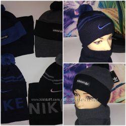 Мужские наборы шапка и бафф, р-р универсальный 52-58, nike и adidas