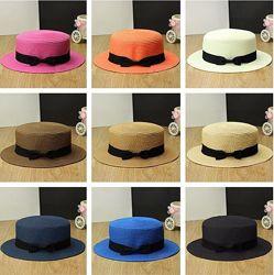 Летние соломенные шляпки 4 модели. Канотье Широкополая ковбойка