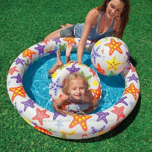Детский надувной бассейн Intex 59460 Звезды 122 х 25 см надувным кругом и м