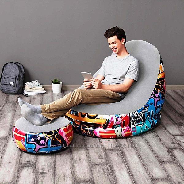 Надувне крісло Bestway 75076, 121 х 100 х 86 см, пуф 54 х 26 см