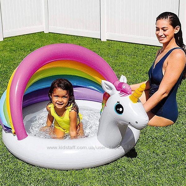 Дитячий надувний басейн Intex 57113 Єдиноріг з навісом, 127 х 102 х 69 см