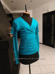 Бирюзовая блуза  рукав сетка