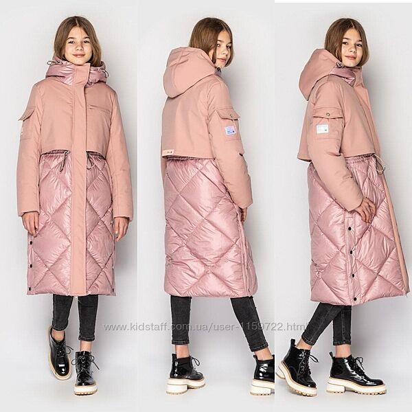 Стильное зимнее пальто куртка для девочки от Cvetcov Рикки 128-158 р.