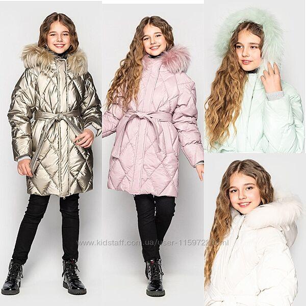 Зимняя куртка пальто для девочки Джун от Cvetkov 128-164 р.
