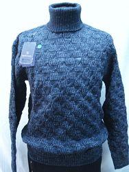 Свитер-хомут Vip Stendo мужской  синий, узор косы  3XL,4XL-54,5XL