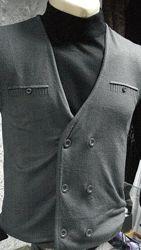 Жилет мужской ELM тёмно-серый трикотажный  на пуговицах тонкий  М