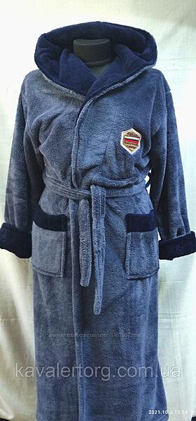 Халат ALBERK чоловічий теплий джинсового кольору XL,2XL,3XL