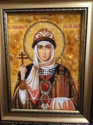 Янтарная именная  икона св. Ольги