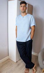 Комплект чоловічого одягу для дому з натурального льону