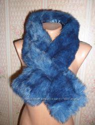 Горжетка шарф воротник - искусственный мех - новая - королевский синий