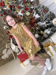 Шикарное платье  паетки от производителя 104-146