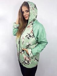 Куртка ветровка с цветочным принтом с капюшеном, р. 50-58