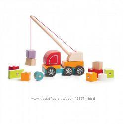 Деревянная развивающая игрушка Машинка Авто-кран ТМ CUBIKA 14 деталей 13982