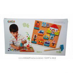 Развивающая игра с молоточком Аппликация для мальчиков, Cubika, 13883