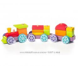 Деревянный поезд Радужный экспресс LP-3 15 деталей 12923
