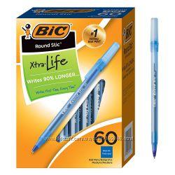 Ручка шариковая синяя, черная BIC Round Stick, 60шт