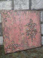 Панно в восточной стиле розовое, микс-медиа