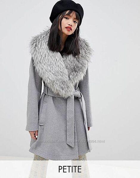 Шерстяное пальто со съемным мехом lost ink