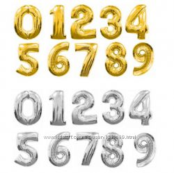 Шарик фольгированный цифра 75 см серебро, золото, синий и розовый