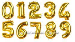 Фольгированная цифра 35 см золото, серебро, розовое золото, животные