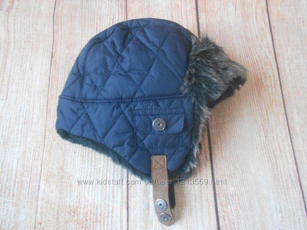 Зимняя шапка ушанка на мальчика Next 1-2года.