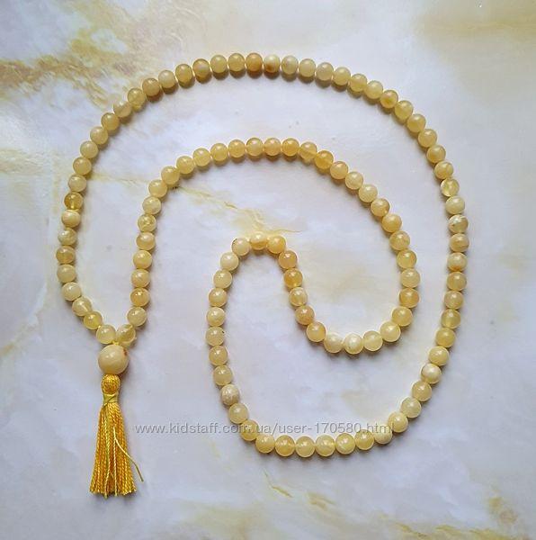 Мала четки 108 бусин 100 натуральный янтарь шар не пресс, не плавка 7мм