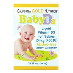 California Gold Nutrition Витамин D3 в каплях для детей 400 МЕ, 10 мл