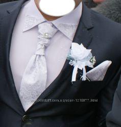 Свадебный набор рубашка, галстук и платок Турция